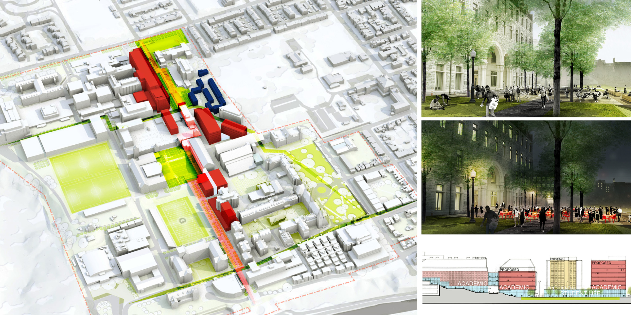 georgetown university framework plan<br />georgetown university leavey center renovation and addition<br />georgetown university downtown campus vision study<br/>Georgetown University Parcel Studies<br/>Georgetown University Lauinger Library Study